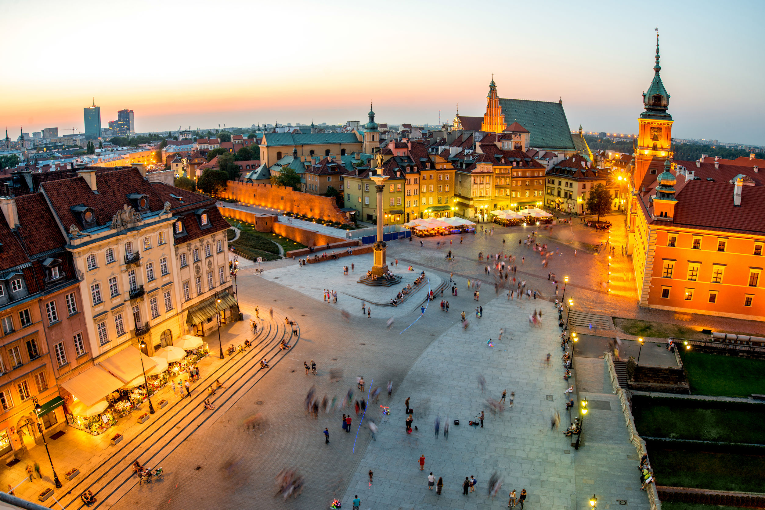 43856712 - top view of royal and old town crowded with people in warsaw on the evening